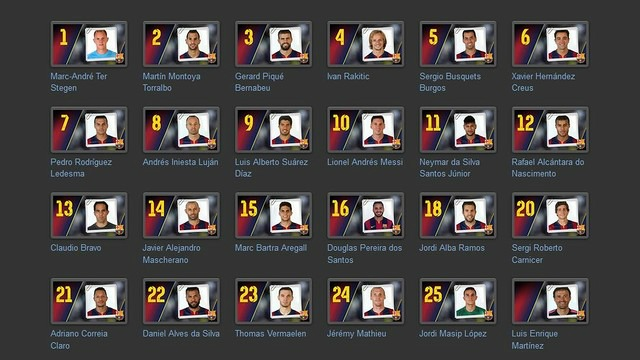 18 man squad for tonight's game