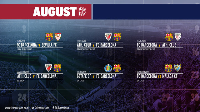 In August, six official games for FC Barcelona