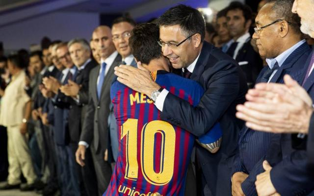 Image result for Messi and Bartomeu