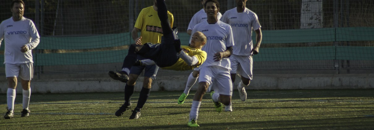 FCB midfielder Zak Harry tries a bicyle kick shot on goal from the edge of the box against AD Carrozas