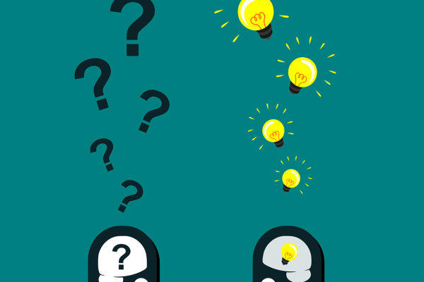 Two black cartoon heads face each other against a teal background. The head on the left is smiling and has a black question mark inside its white brain, with additional question marks rising above. The head on the right is also smiling, and has an illuminated yellow lightbulb in its gray brain. Additional yellow lightbulbs rise above its head. Image via Pixabay.