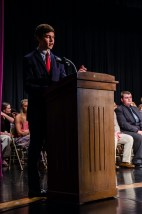 Senior Hank Duncan speaks for the senior welcome to begin Class Night. Photos by Robert Wormley.