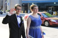 Seniors Samuel Stermer and Kayla Popson arrive to the Kentucky International Convention Center for prom. Photo by Alaina King.