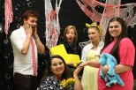"""From left to right: junior Lucas Willman as Anger, junior Faith Oppel as """"the wife who just killed her husband,"""" junior Gracie Reising as Kim Possible, senior Savannah Thieneman as Pikachu, and senior Sara Wardrip as Boo."""