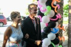 Senior Cara Miller and junior Robert Wormley walk into prom. Photo by Shelby Pennington.