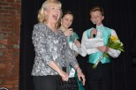 Retiring principal Janie Whaley screams as she is crowned Eternal Queen of FC. Whaley will retire at the end of the year; the tribute was a show of appreciation for her years of service. Photo by Sarah Strain.