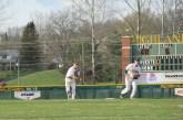 Senior Dalton Drexler throws the ball to first base.