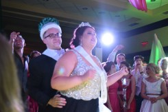 Seniors Avery Wohlleb and Jacob Mussell dance as prom king and queen. Photo by Kiley Swain.