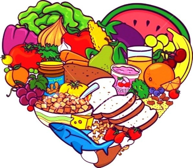 graphic of a heart shape which includes lots of food images