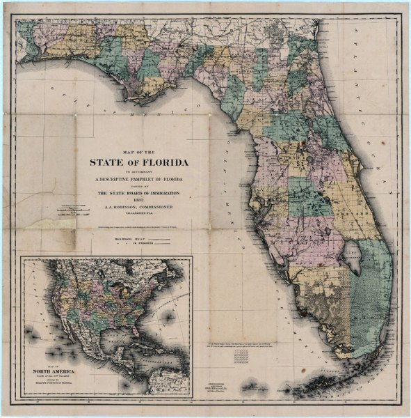 Map of the State of Florida  1882