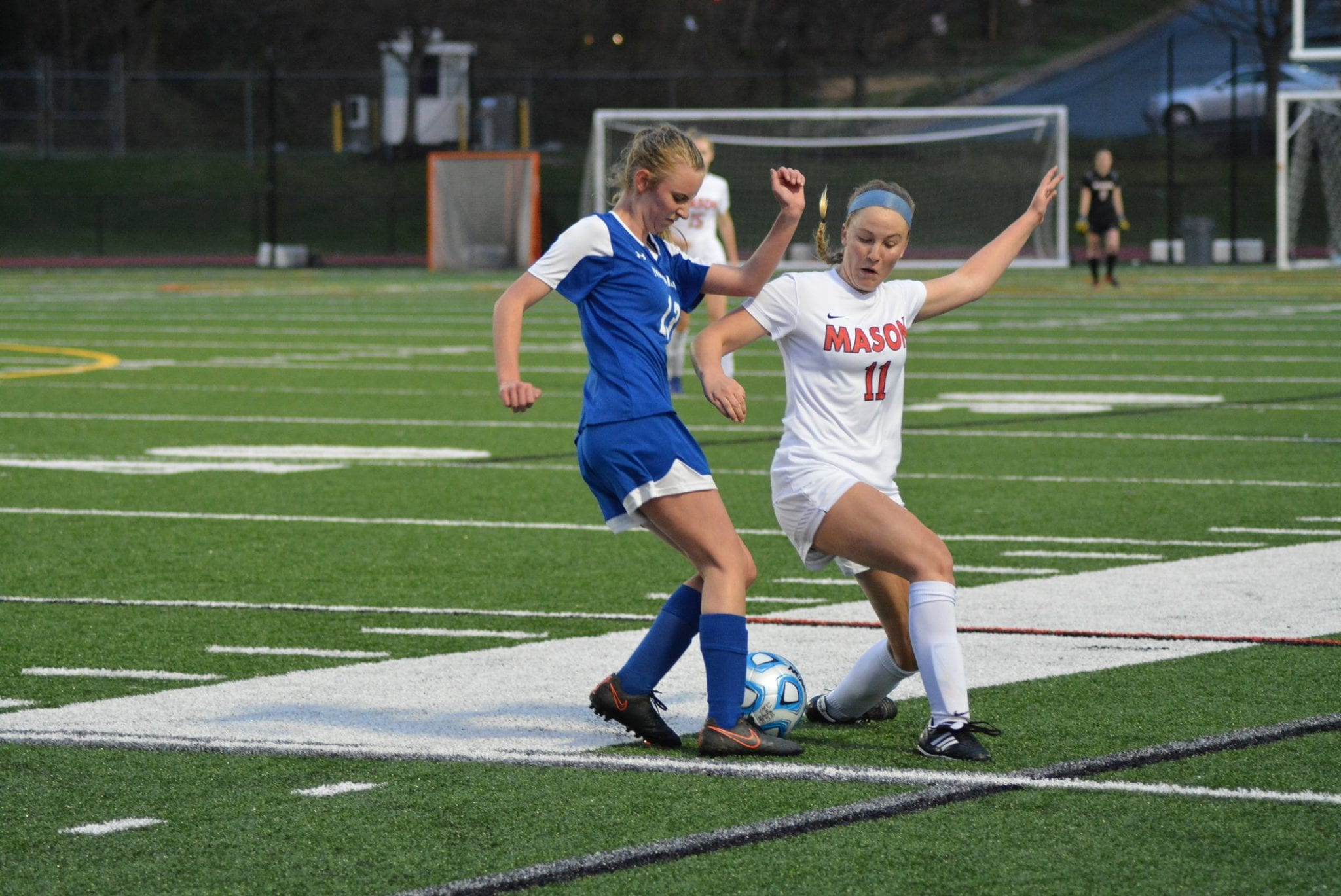 George Mason offensive wing Victoria Rund fights for ball control during the Mustangs' 4-2 victory over Madison High School Tuesday. (Photos: Carol Sly)