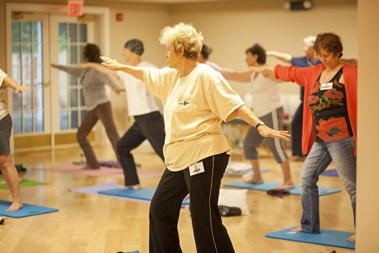 PARTICIPANTS IN INOVA'S LIFE WITH CANCER program work on their warrior two pose during one of the program's yoga classes. (Courtesy Photo)