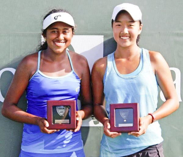 NATASHA SUBHASH (left) with her doubles partner Ann Li. Subhash advanced to the second round of the U.S. Open Junior Tournament, where she was eliminated on Tuesday.  (Photo: Courtesy of USTA Girls Nationals)