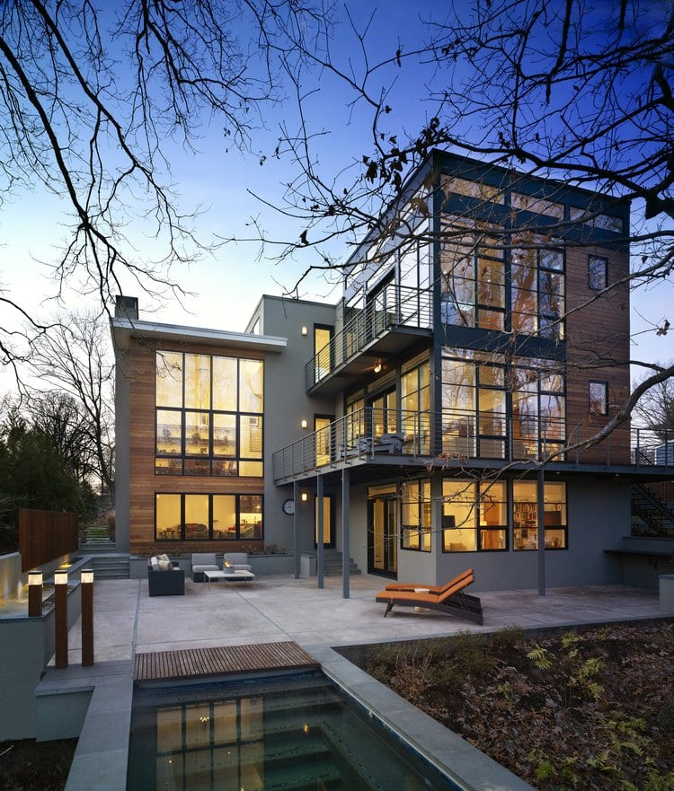 This Lake Barcroft home, designed by Falls Church's Moore Architects, is wired for home automation. Controlled with super thermostats, it also has an automatic shading system, which the owner can control from their iPhone. (Photo: Courtesy of Anice Hoachlander Photography)