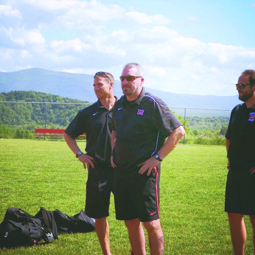 mason head coach frank spinello (center) with assistant coaches Nate Grenier (left) and Bobby Penland at the 2014 state championships. (Courtesy Photo)