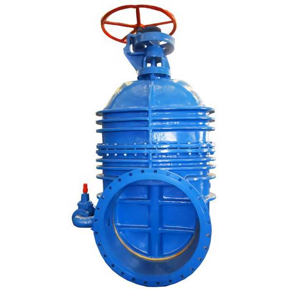 Picture of blue non-rising gate valve on white background