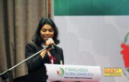 Tahmina speaking at opening meeting.