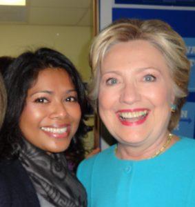 Tahmina Watson and Hillary Clinton