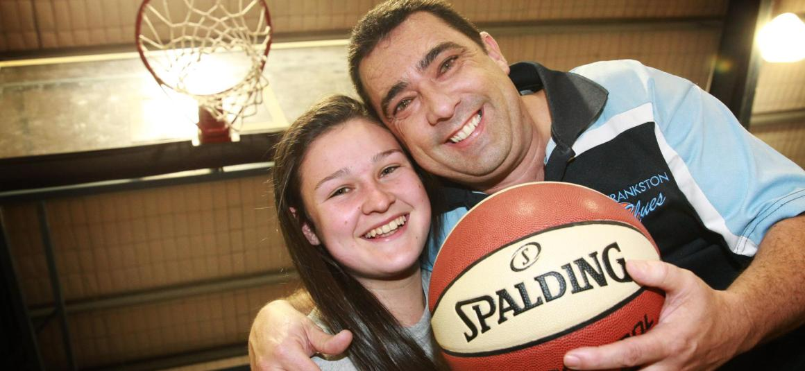 FLUKE BASKETBALL SHOT SEES FRANKSTON DAD WIN PACT WITH DAUGHTER