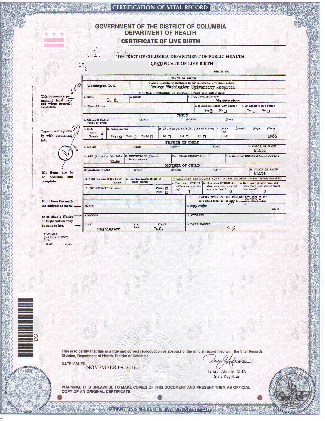 Dc Birth Certificates For Foreign Use