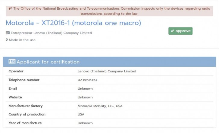 Motorola is working on One Macro smartphone, certification document reveals