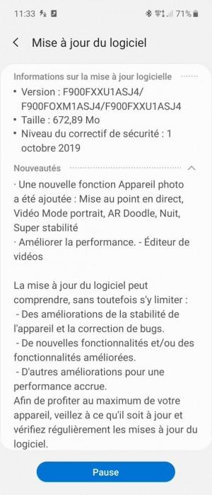 Galaxy Fold update changelog