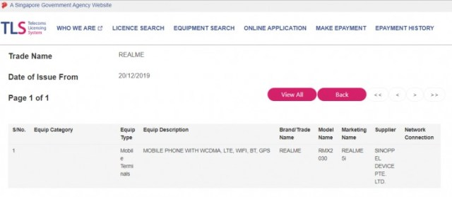 Realme 5i got certified in Singapore