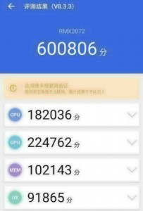 AnTuTu score for RMX2072 - allegedly the Realme X3 Pro