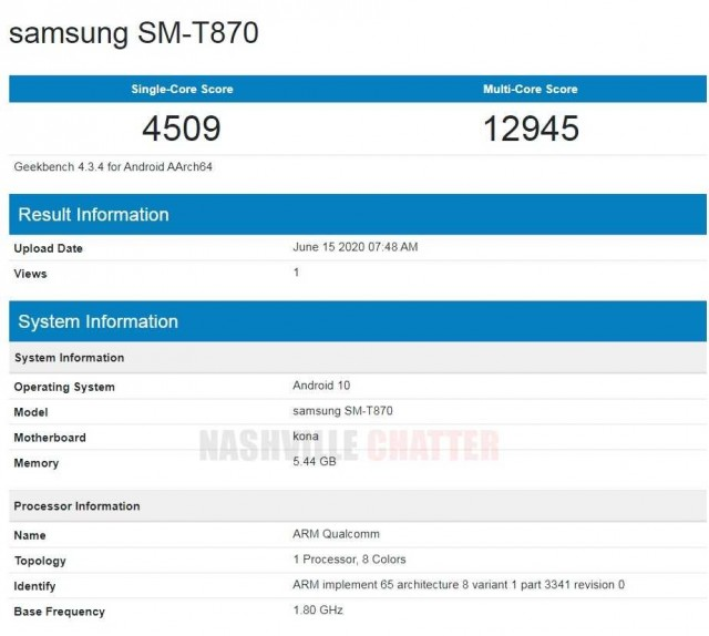 Samsung Galaxy Tab S7 also passes by Geekbench 1