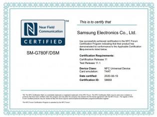 Galaxy S20 Fan Edition çanta NFC sertifikası olduğuna inanılan Samsung cihazları