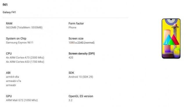 Samsung Galaxy F41 di Konsol Google Play