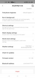 Amazfit Bip S Lite data and settings in Zepp for Android