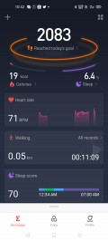 Amazfit Neo data and settings in Amazfit's Android app