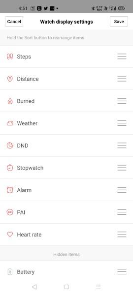 Watch display settings