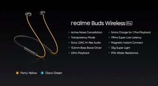 Realme unveils Buds Air Pro and Buds Wireless Pro ANC earphones