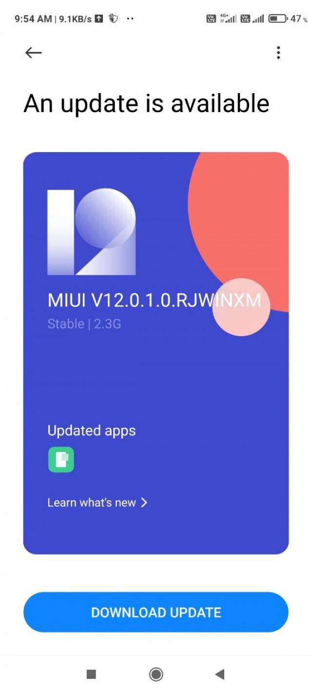 Redmi Note 9 Pro update screen