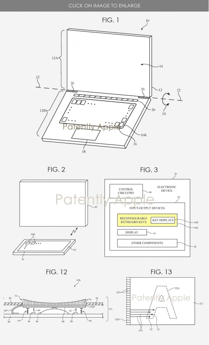 Apple patents a Mac keyboard with configurable keys that use tiny displays