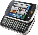 The Motorola CLIQ (aka DEXT in Europe) also had a QWERTY keyboard and SNS-focused software