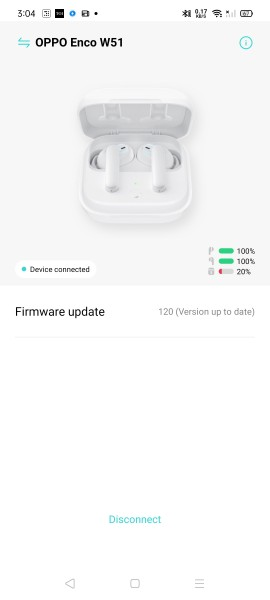 HeyMelody app showing the battery level of the buds and charging case on a Realme smartphone