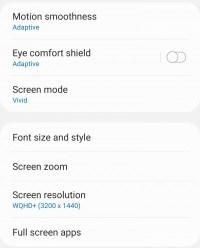 A screenshot from the Galaxy S21 Ultra's settings menu