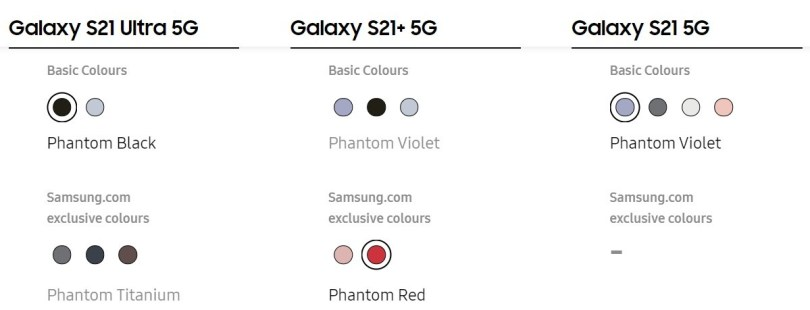 The current selection of basic and exclusive colors for the S21 series