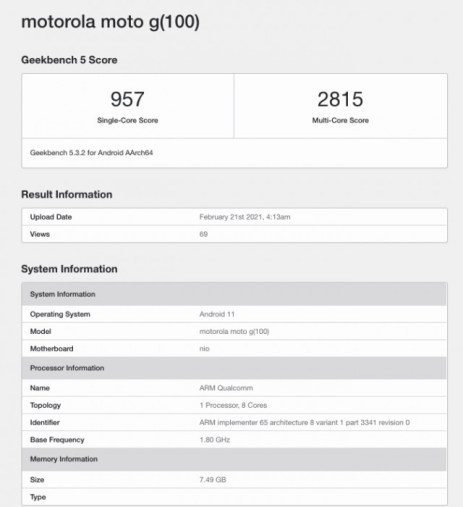 Motorola G100 spotted on Geekbench, expected to be the global Moto Edge S version