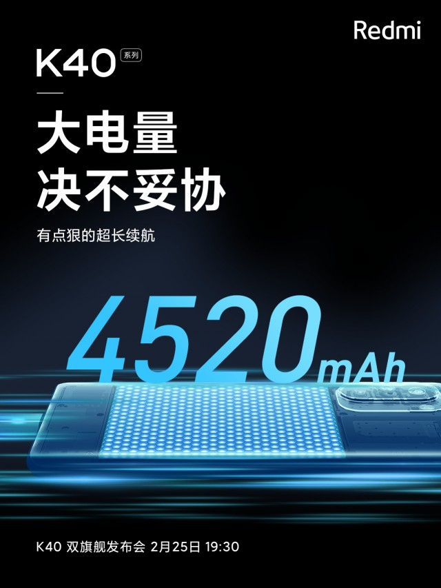 Redmi K40 series battery capacity poster
