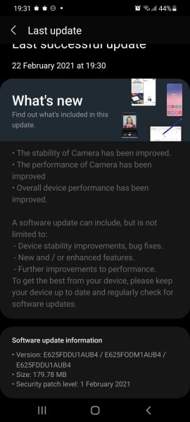 Samsung Galaxy F62 receives its first software update with camera improvements