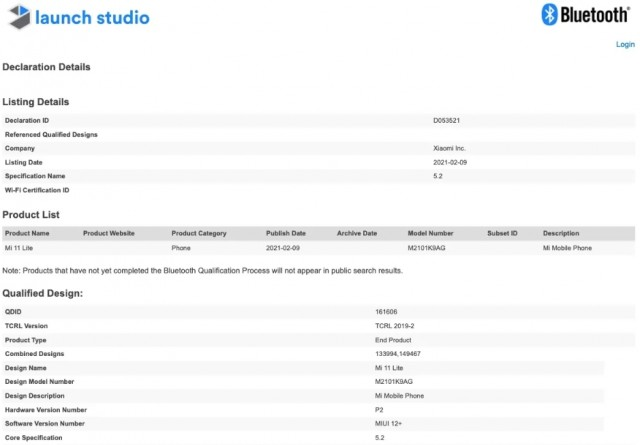 Xiaomi Mi 11 Lite on Bluetooth SIG website