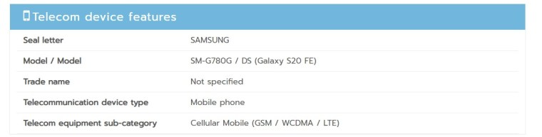 According to Thailand's NBTC, the SM-G780G is a 4G only phone, no 5G