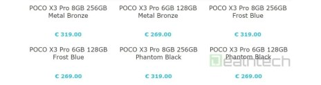 Poco X3 Pro price leaks