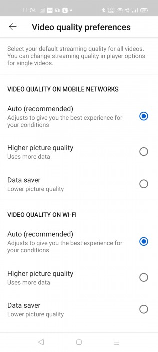 You can set the default video quality settings for cellular networks and WiFi separately