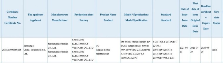 3C certification reveals Samsung Galaxy Z Fold3 will come with 25W charger