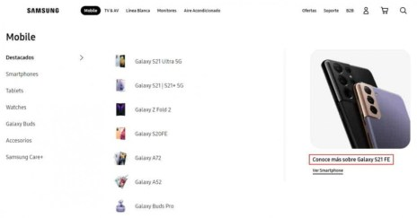 Samsung Galaxy S21 FE mentioned on Samsung Mexico's website